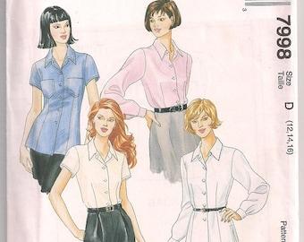 Misses Shirt Pattern, McCalls 7998, Long Sleeve Shirt, Short Sleeve Shirt, Blouse Pattern, 90s fashion 12 14 16 Uncut