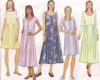 Adult Dress Jumper Butterick 3023, Jumper Pattern, Dress Pattern, Front Buttons, Front Pleats, Long or Short Sleeve, 12 14 16 Uncut
