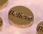 6 BELIEVE Beads Gold Plated Oval Inspirational Charms for Friendship Bracelets Bulk Beads Jewelry Making Supplies USA Made Word Beads