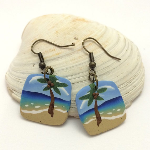 Palm Tree Beach Earrings, Polymer Clay Cane Work, Summer Jewelry