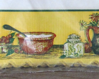 Vintage shelf paper with fold over edge - kitchen items