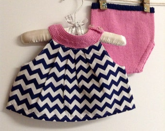 Baby clothes baby girl clothes newborn gift pillowcase top knit diaper cover navy chevron newborn clothing