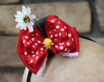 Minnie Mouse Hat, Disney Bow, Mouse Ears, Mini Top Hat Headband, Mickey Mouse Party, Minnie, Disney Bound, Fun Run