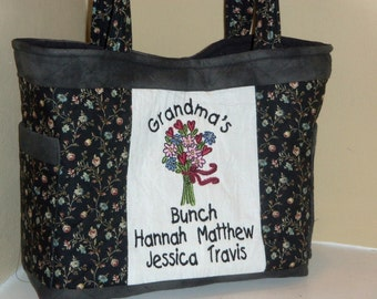 Grandma's Bunch Quilted Personalized Tote Bag in Black Floral Print