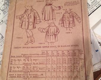 Butterick 4731 Size 3:  Child's Deltor Coat.    Vintage 1920's Sewing Pattern