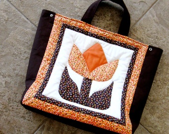 Quilted Bag Tote Tulip Calico Print Country Boho Orange Brown Yellow