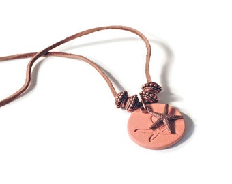 Starfish Terracotta Pendant/Charm and Copper Necklace, Aromatherapy Jewelry, Essential Oil Diffuser