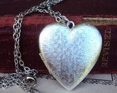 RESERVED Keychain.....Vintage Large Locket Necklace Silver Plate Long Chain Basket weave Heart Photo Locket