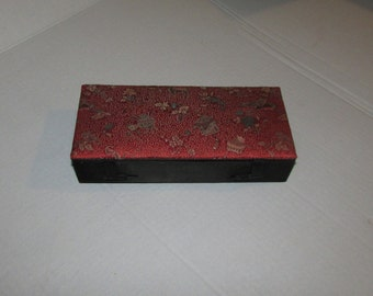 Vintage Mid Century BRIDGE SET in Red Chinese Cloth Box With Accessories