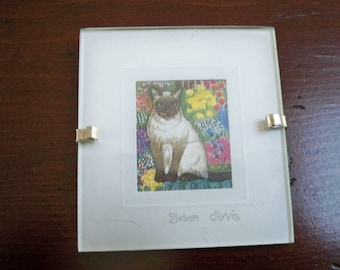 Vintage Home Decor Wall Hanging Miniature Water Color Print Siamese Cat #4 England Sharon Jervis
