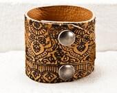 February Cuff Bracelet Unique Jewelry Wrist Cuffs - 2016 Boho Bracelet Gifts Winter Trends - Rustic Primitive Rainwheel Art