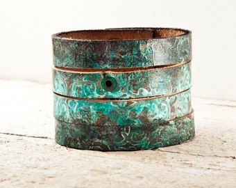 Turquoise Jewelry - Leather Bijou - Women's Cuff Bracelet - Made in the USA - Gift Under 50
