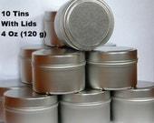 Empty Metal Tins With Lids, 4 Oz Tins (10 Qty), Round Metal Tins, Small Metal Tins, Empty Candle Tins, Party Supplies