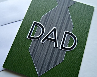 Father's Day Card with a Tie in Forest Green, Black and Gray