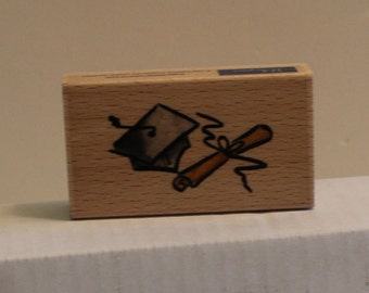 Graduation Hat and Diploma Rubber Stamp