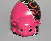 Ceramic Piggy Bank - Pink - Rainbow Swirls
