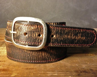 Vintage Aged Red Stitched Leather Belt - Handmade in USA