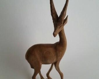Carved gazelle Wooden Doe Fawn Deer 70s 80s Vintage Artwork Mini Desk Statue