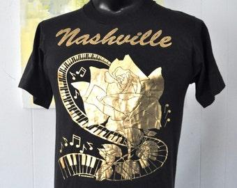 Amazing Vintage Gold Tee Glitter 1989 80s TShirt Nashville TN Tennessee Soft and Thin Medium