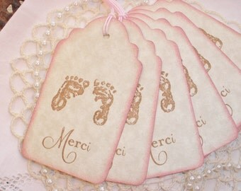 French Inspired Baby Shower Tags Merci Thank You Set of 6