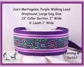 Jan's Martingales, Purple Walking Lead, Collar and Lead Combination, Greyhound, Large Dog Size, Pur163