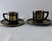 Set of two Antique Greece Rhodos collecter demi cups Greek Gods and finest flower painting Black and Gold 22 Kt Coupon SUNSHINESALE 20%