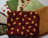 NEW  Folk Art Pears Fabric Bundle - 8 Fat Quarters for Quilt Craft Bundle C