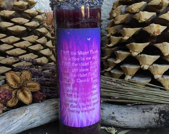 Rita's Violet Flame 7 Day Hoodoo Ritual Candle - Heal Karmic Debt - Hoodoo, Witchcraft, Pagan