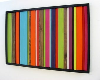 Reclaimed Wood Art Sculpture - Wood Wall Art - Rustic Wall Art - Stripes - Abstract Painting on Wood