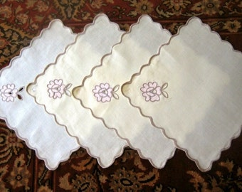 Vintage BUT NEW TABLECLOTH Replacement Napkins Linen Set 4 Embroidered Pink Madeira Lace