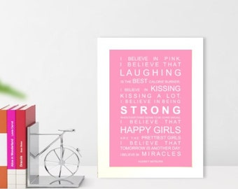 A5 unframed subway wall art print Typography print Audrey Heburn I believe in Miracles  quote