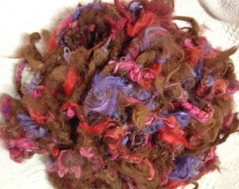 Alpaca Art Yarn, Hand Spun, 25 Yards, Hand-Dyed, Azalea, Violet, Mulberry, Crabapple, Natural Color, Medium Brown