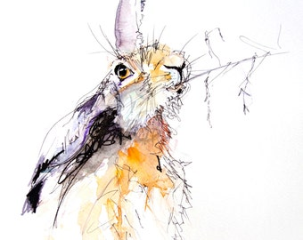 Hare animal art, LIMITED edition print of   HARE wall art, home decor, nursery art, wildlife .(h12) hand signed, illustration,  rabbit art