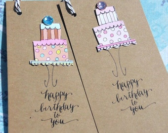 Happy Birthday tags - Birthday Gift Wrap - Gift Bag Tags - Polka Dot Tags - Birthday Cake Gift tags - Kraft Paper Tags - bcsk