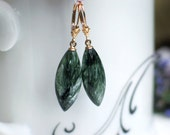 14K Solid Gold Russian Seraphinite Earrings | Natural Green Smooth Marquise Drops | Fleur de Lis Leverback Dangles | Gift Ready to Ship
