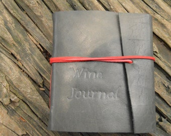 Wine on the Go Handmade Leather Wine Journal Free Personalization