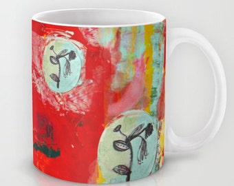 Mug Art, coffee mugs ceramic. Home drinkware Art, Art breakfast mugs, red turquoise flowers dog