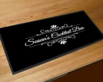 Personalised Bar Runner Cocktail bar mat gift idea black Bar runner pubs clubs & cocktail bars **ANY NAME** customised