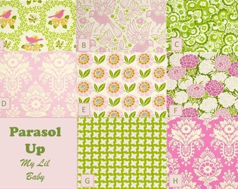 Custom 6 Piece Floral Pink and Green Nursery Crib Set Parasol Up by Heather Bailey Baby Girl Build Your Own Custom Crib Bedding