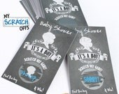 """Baby Shower Game Chalkboard  """"ITS A BOY"""" Baby Theme Baby Shower Scratch Off Game Card Ticket Favor (10 card)"""