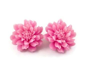 Pink Dahlia Chrysanthemum Spring Flower Clip On Earrings