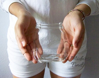 Clear Mason Jar spoon rest, pint size, soap dish, ring dish from a clear pint Ball jar, includes gift box