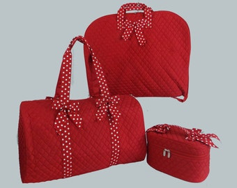 Personalized Luggage-Garment Bag Duffle Bag And Cosmetic Train Case In Red with Red and White Polka Dot Trim