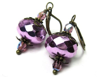 Sparkling Metallic Purple Violet Czech Glass Vintage Style Dangle Earrings, After Nine Jewelry Gift Ideas, Affordable Jewellery, Formal Wear