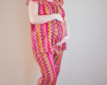 Maternity 2 Piece Pajama Set, Maternity PJs, Maternity Sleepwear, Maternity Nightgown, loungewear pyjama, Yoga Pants, baby shower gift