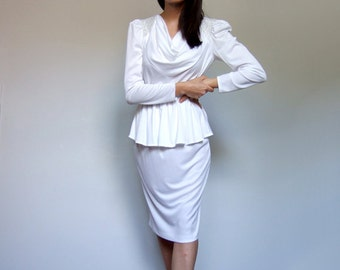 70s White Dress Long Sleeve Fitted Peplum Dress Hourglass Party Dress Metallic Cocktail Dress - Extra Small XS S