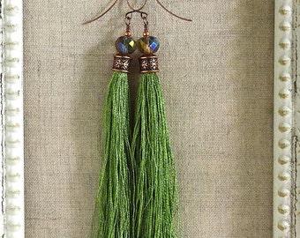 Bohemian Fringe Earrings in Lime