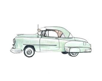 "Vintage Car - 8x10"" Watercolor Print - Mint Classic"