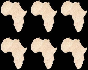 Africa Continent Shape Natural Craft Wood Cutout 276