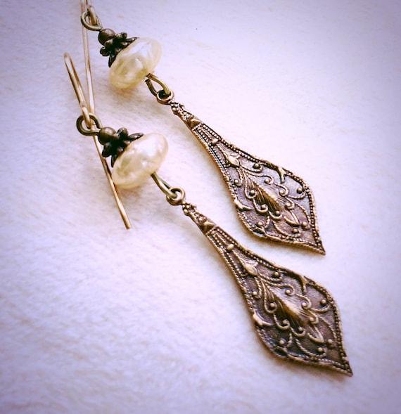 Art Nouveau Brass Drops, brass and pearl earrings, pearl and brass drop earrings